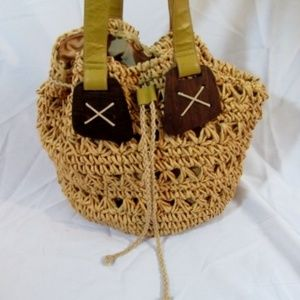 STRAW STUDIOS Woven Basket Wood Tote Satchel Bag